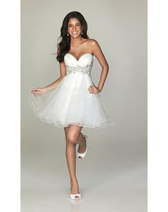 A Line Sweetheart Short Beading Organza Tieback White Prom DressesOutlet