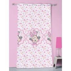 Voilage à oeillets rose de taille 140x240 cm MINNIE MOUSE stylish pink en 100% polyester.