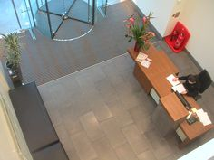 Honed and filled #Basaltina flooring to commercial reception area
