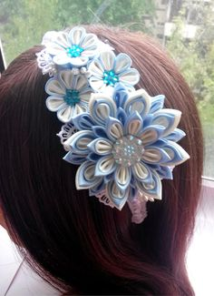 Kanzashi headband/Fabric flower hairband/Flower head band/Head bands for girls/Kanzashi flower d big flower 2,76 inches d small flowers 1,18 inches Ready to ship
