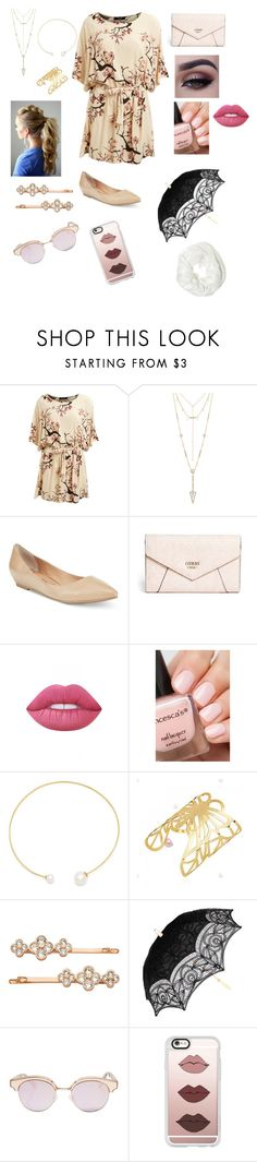 """""""Child day care"""" by sarah4ever123 ❤ liked on Polyvore featuring Lipsy, House of Harlow 1960, American Rag Cie, GUESS, Lime Crime, Fallon, Henri Bendel, Le Specs, Casetify and Betsey Johnson"""