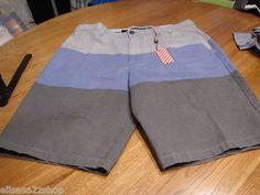 Men's RARE Modern Amusement stripe walk casual shorts 36 CROW blue surf skate