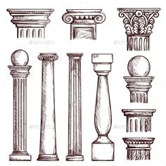 Buy Arabic Architecture Engraved Columns by studioworkstock on GraphicRiver. Arabic architecture columns engraved illustration with stone marble pillar vector set isolated. Cultural Architecture, Gothic Architecture Drawing, Architecture Drawing Sketchbooks, Architecture Antique, Romanesque Architecture, Education Architecture, Classic Architecture, Concept Architecture, Landscape Architecture