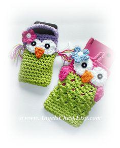 PDF Pattern Cute Crochet OWL Cell Phone Cozy and par AngelsChest, $6,99
