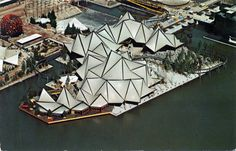 """Expo 67 officials decided to allow free reign in architectural style as long as participant's pavilions fit in with the overall theme """"Man and his World. Expo 67 Montreal, Montreal Ville, Ontario, Neo Futurism, Boogie Wonderland, Origami Architecture, Landscape Architecture, Temporary Structures, Space Frame"""
