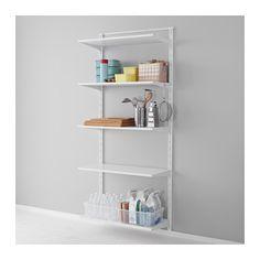 IKEA - ALGOT, Poste/balda/gancho, Puedes combinar los elementos de la serie ALGOT de muchas maneras distintas según tus necesidades y el espacio de que dispongas.Como los soportes, las baldas y otros accesorios se fijan con un simple clic, es fácil de montar, adaptar y modificar según tus necesidades.Se puede colocar en cualquier parte de la casa, incluso en zonas húmedas como el baño o en un balcón cubierto.  http://www.ikea.com/es/es/catalog/products/S19094206/