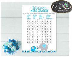 Our new product: Aqua Blue and Gra.... Check it out here: http://snoopy-online.myshopify.com/products/aqua-blue-and-gray-elephant-baby-shower-word-search-game-printable-digital-files-jpg-and-pdf-instant-download-ebl01