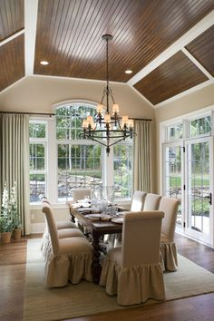 Great ceiling in this dining space