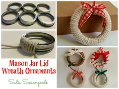 Take leftover mason jar lids, wrap them in cord/rope/twine and create adorable wreath ornaments! Super easy and quick- perfect for kids or craft parties- and fun to embellish. #SadieSeasongoods