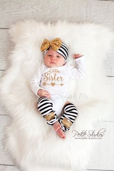 New Baby Girls Clothes Little Sister Long Sleeve Bodysuit Romper Striped Leg Warmer Bow Hairband Kids Clothing 6 Month Baby Picture Ideas, Baby Leg Warmers, Girls Coming Home Outfit, Little Girl Outfits, Baby Girl Headbands, Newborn Headbands, Girls Rompers, Baby Girl Fashion, Baby Girl Newborn