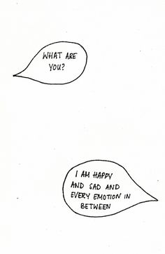 what are you? I am happy and sad and every emotion on between