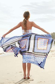 Stella & Dot Navy Moraccan Print Wrap Scarf | Capri Cotton Wrap