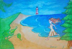 """Ilustração feita em aquarela sobre canson para a página 'Ilustraday' do Facebook. Inspirada na música """"Landscape"""" do Florence + The Machine. #illustration #Landscape #Watercolor #Music  #Florence+TheMachine #Painting #Aquarela"""