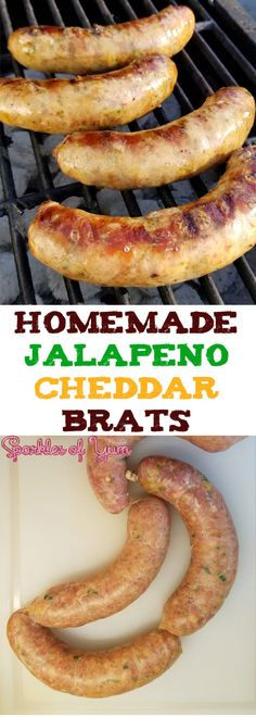 sausage recipes These Homemade Jalapeno Cheddar Brats are super-scrumptious! From that snap of the casing, the juiciness of the brat, how all the flavors come together, and the oh so good cheesy bits inside. Pork Sausage Recipes, Homemade Sausage Recipes, Homemade Breakfast Sausage, Bratwurst Recipes, Venison Recipes, Venison Brats Recipe, Homemade Summer Sausage, Homemade Brat Recipe, Conecuh Sausage Recipe