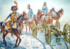 Un coronel de la Artillería a Caballo de la Guardia Imperial, con un obús y dos soldados del Tren de Artillería Más en www.elgrancapitan.org/foro