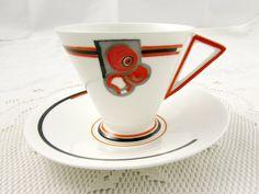 Shelley Art Deco Orange Tea Cup and Saucer - Vintage Teacup - English Bone  China ca8d7028070