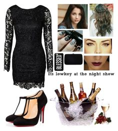 """""""It's lowkey at the night show✨"""" by blessed-with-beauty-and-rage ❤ liked on Polyvore featuring Christian Louboutin, Sergio Rossi and Prodyne"""
