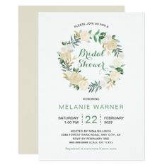 White and Cream Roses Wreath Bridal Shower Card - floral style flower flowers stylish diy personalize