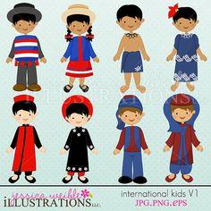 International Kids V1 Cute Digital Clipart for by JWIllustrations, $5.00