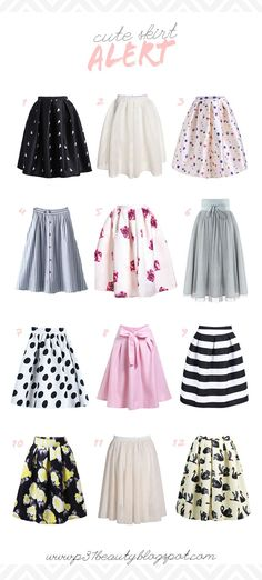 1 | 2 | 3 | 4 | 5 | 6 | 7 | 8 | 9 | 10 | 11 | 12 1. Black Frog Print Flare Skirt | comes in red, too! 2. White Flare Skirt 3. Beige Balloon Print Skirt | isn't this skirt so cute? it comes in blue, too! 4. BlueContinue Reading