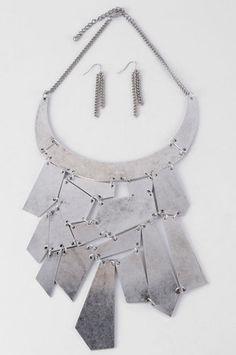 Bijoux Mosaic Bib Necklace & Earrings Set