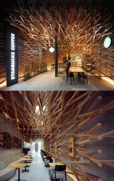 ♥ Cafe Interior, Modern Interior, Interior Design, Japanese Architecture, Interior Architecture, Tulum, Green Cafe, Kengo Kuma, Cafe Design