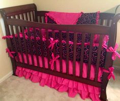***Custom made to order 4 piece Crib Bedding set*** This listing is for a Hot Pink & Black Swirls crib set. Includes boutique style bumper , 34x38