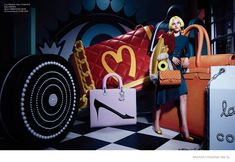 Keep Satisfied–Pop art inspired colors and sixties fashion collide in this fashion shoot published in the September issue of Harper's Bazaar China. Pop Art Fashion, Fashion Shoot, Editorial Fashion, Fashion Graphic, Line Art Lesson, Pop Bag, Animal Art Projects, Sixties Fashion, Sad Art