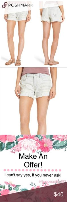 """•BLANKNYC• Distressed Sun Baked Shorts Heavy shredding and raw, uneven hems give rough-and-tumble style to denim shorts that look as though they've been faded by the sun.  At the back, cactus embroidery provides a playful finish. Zip fly with button closure Five-pocket style 100% cotton Inseam: 4""""  PF4 ASOS Shorts Jean Shorts"""