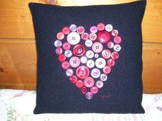 Primitive Valentine Crafts   Primitive Folk Art Valentine Button Heart Pillow Black ...   DIY & CR ...