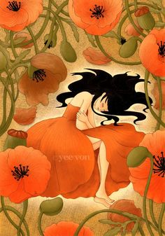 poppies with girl. Graphic