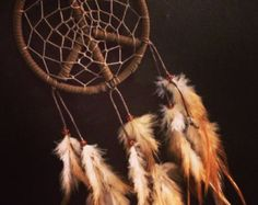 Peace sign dream catcher with mixed feathers, brown web and & glass bead finish 10cm diameter dreamcatcher hand made