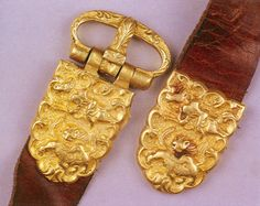 """(Tang dynasty) Buckle of a Gold """"Diexie"""" Belt. ca 7th -8th century CE. Tang dynasty, China."""