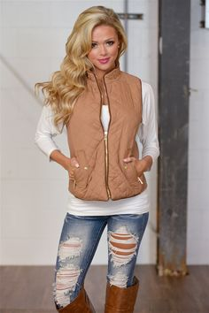 More To Explore Quilted Puffer Vest - Taupe from Closet Candy Boutique