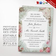 Wedding Invitation Template  Vintage Rose by GeekeryAndMadness