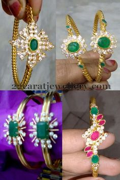 Jewellery Designs: Light Weight Emerald Bangles