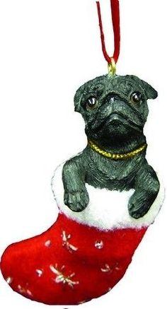 New in Box Santa's Little Pals Ornament Black Pug