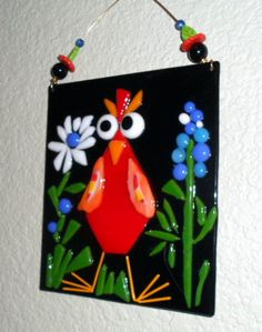 Whimsical Red Bird with Daisy and Texas Bluebonnet Fused Glass Plaque by jodysart on Etsy