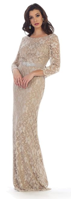 This elegant long mother of the bride dress comes with sweetheart neckline, long sleeves. This dress is great for wedding, evening party or any other special occasion. Fabric : Lace Zipper Back Length