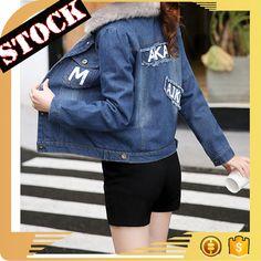L6893 Wholesale Fashion Clothing 2017 Women Denim Jacket Slim Short Warm Printed Tape Fur Hood Winter Jean Coats Plus Size