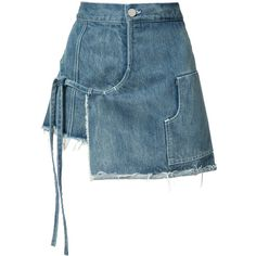 Sandy Liang Mini Denim Wrap Skort (2360 MAD) ❤ liked on Polyvore featuring skirts, mini skirts, denim daze, kirna zabete, kzloves /, above the knee skirts, tie-dye skirt, denim skirt, mini skirt and tie wrap skirt