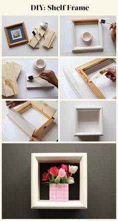 Revamp your old picture frames and create a DIY Shelf Frame.