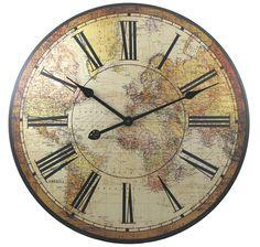 Vintage Map Clock