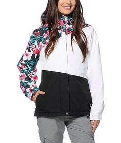 Equip yourself with lush style and performance in this floral block snowboard jacket made with a water resistant exterior and poly insulated fill so you can stay warm and dry for a shred-packed day.