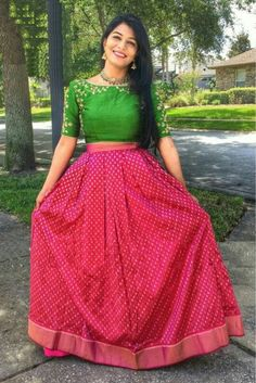 Buy Ninecolours Red And Green Silk Embroidered Lehenga online Long Skirt Top Designs, Long Skirt And Top, Long Dress Design, Crop Top Designs, Lehenga Crop Top, Red Lehenga, Lehenga Choli, Lehenga Blouse, Silk Dupatta
