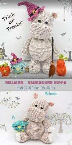 Melman - Amirugumi Hippo [Free Crochet Pattern] Ami Hippopotamus, Softie, Crochet Toys Follow us for ONLY FREE crocheting patterns for Amigurumi, Toys, Afghans and many more!
