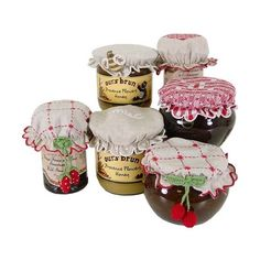 Touch Of Europe: French jam or honey preserves jar cover- elastic fits... (€47) ❤ liked on Polyvore featuring food, fillers, food and drink, home and sweets