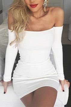 White Off Shoulder Long Sleeves Bodycon Dress