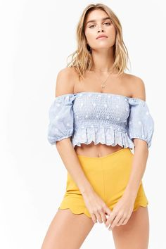 Product Name:Pinstriped Puff Sleeve Crop Top, Category:top_blouses, Price:22.9