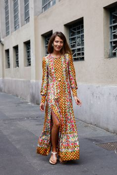 love this fun printed dress accented with a killer leg slit It's very hippie but cool